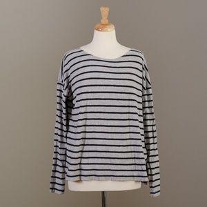 [J. Crew] black + grey striped long sleeve tee